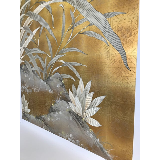 Chinoiserie Chinoiserie Old Handpainted Wallpaper Panel - Gold Metal Leaf With Pussy Willow Motif For Sale - Image 3 of 9