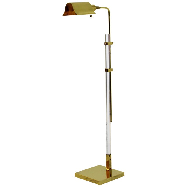 Mid-Century Modern Brass and Lucite Adjustable Floor Lamp Bauer Kovacs Era For Sale