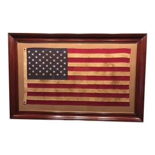 Wooden Framed 50 Stars American Flag Under Glass For Sale