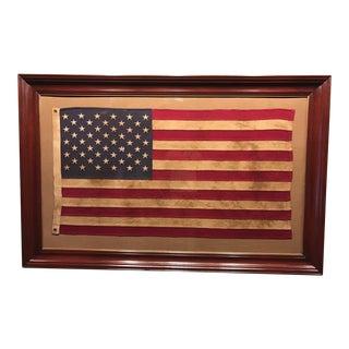 Wooden Framed 50 Stars American Flag Under Glass For Sale