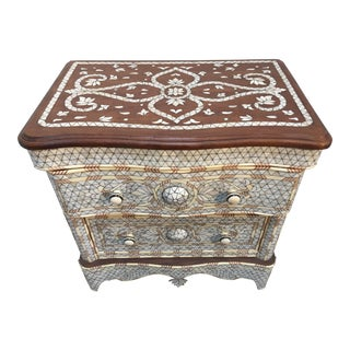Syrian Middle Eastern White Mother-Of-Pearl Inlay Night Stand For Sale
