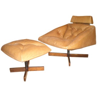 1970s Vintage Percival Lafer Rocking, Lounge Chair and Ottoman For Sale