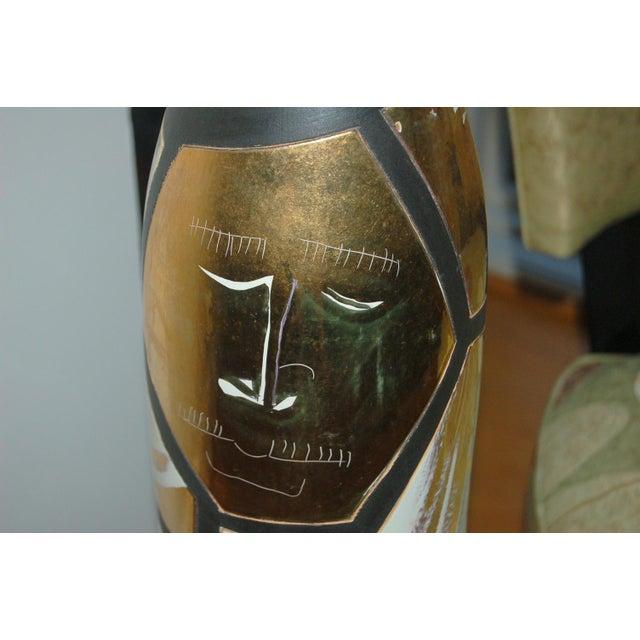 Metal Marbro Italian Porcelain Floor Lamp Gold For Sale - Image 7 of 12