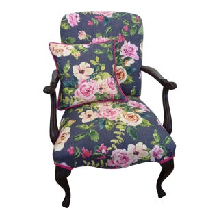Antique French Cherry Navy & Pink Floral Armchair For Sale