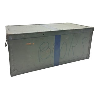 Vintage Industrial Drab Green Military Chest W Removable Lid For Sale