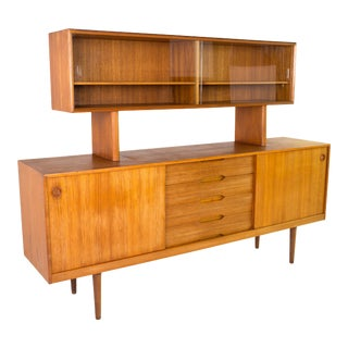 Mid Century Fredrik Kayser for Gustav Bahus Sideboard Credenza Buffet and Hutch For Sale