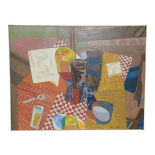 "Mid Century Cubist Still Life ""Kitchen Table"" by Jim Schull C.1957"