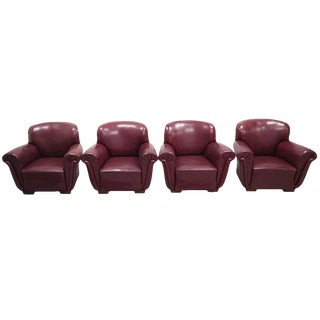 Set of 4 Rare Vintage Mid-Century Modern Burgundy Club Lounge Chairs For Sale