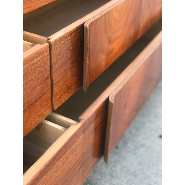 Mid Century Credenza With Metal Pulls For Sale In Los Angeles - Image 6 of 11