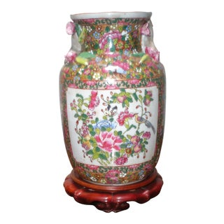 Chinese Porcelain Vase With Wooden Stand