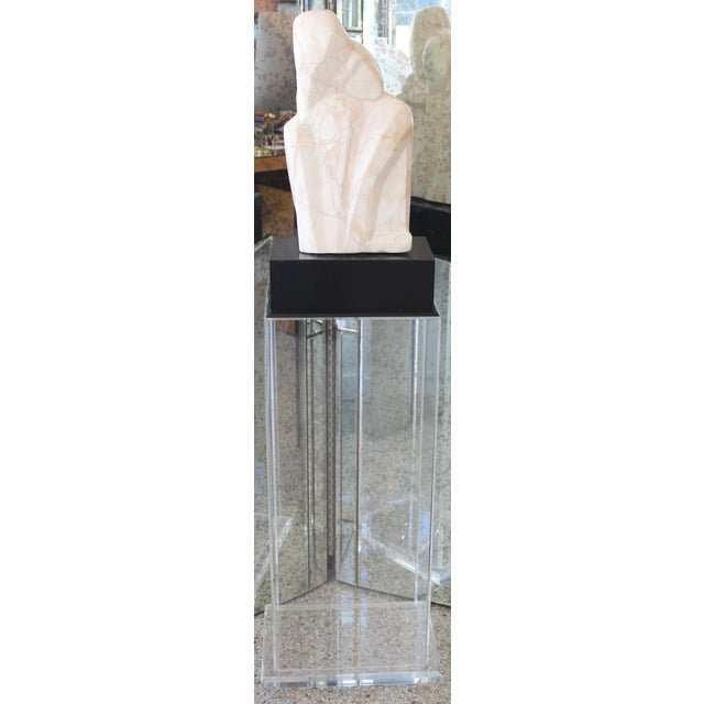 """Mid-Century Modern Beatrice Eiges Marble Sculpture """"Mother and Child Embracing"""" on Custom Lucite Base For Sale - Image 13 of 13"""