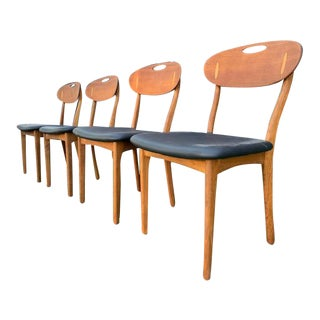 4 Danish Dining Chairs by Svend Age Madsen for K. Knudsen & Son For Sale