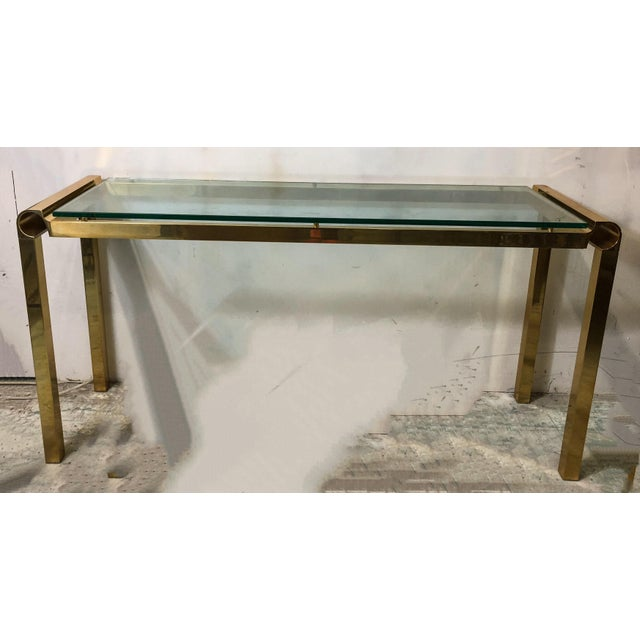 Mid-Century Modern Brass & Glass Console Table - Image 2 of 4