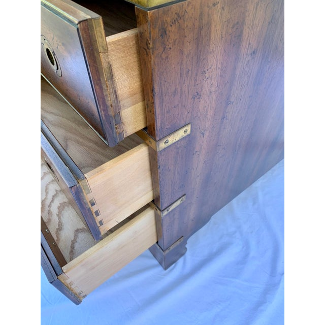 Campaign Heritage Mahogany 3 Drawer Chest Side Table For Sale - Image 3 of 10