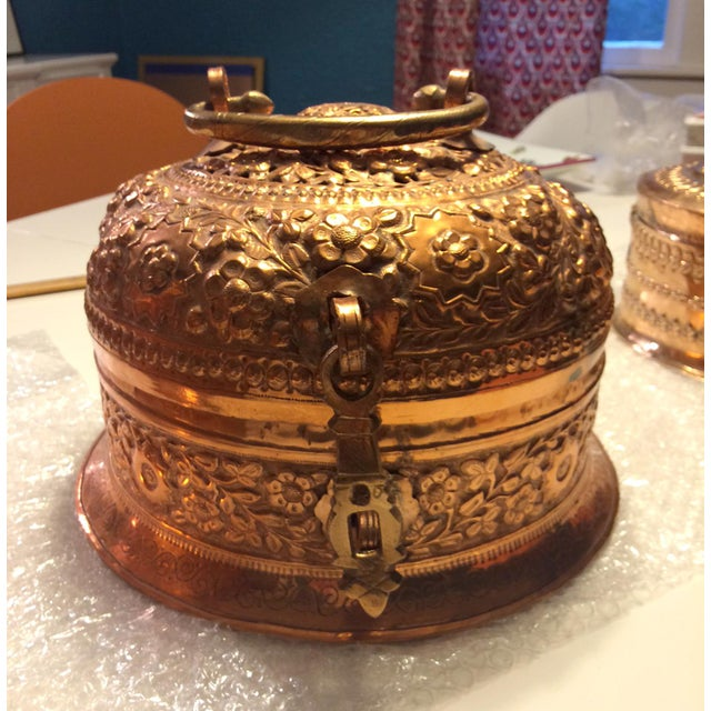 A beautiful antique hand-hammered copper box with utensils used for making traditional 'Paan' or Betel leaves. Paan leaves...