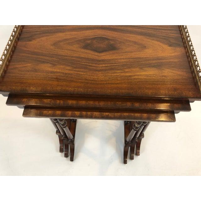 Regency Zebra Wood Nesting Tables - Set of 3 For Sale - Image 11 of 13