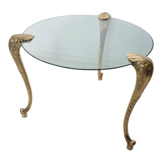 Regency Moderne Round Glass Dining Table Sculptural Cabriole Legs in Brass For Sale