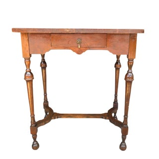 Brown Turned Leg Side Table or Nightstand With Drawer and Brass Pull For Sale