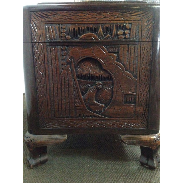Chinese Carved Teak & Camphor Wood Chest - Image 6 of 11