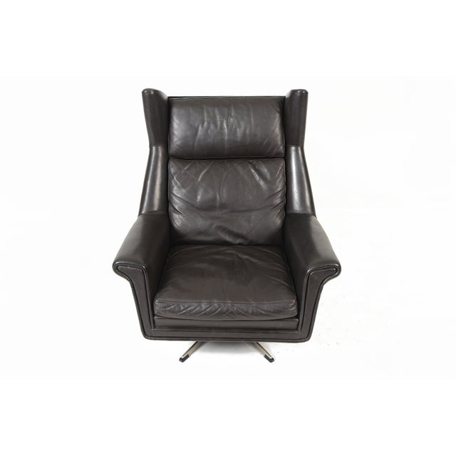 Danish Modern Black Leather Swivel Lounger - Image 4 of 11