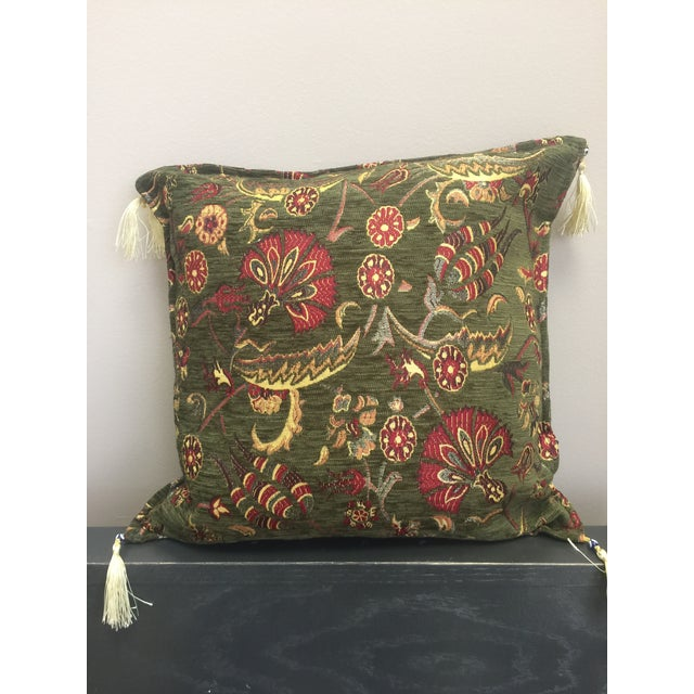 Authentic kilim patterned pillow cover -green Fabric made from multi-layered fiber yarn and velvet, offering rich flaky...