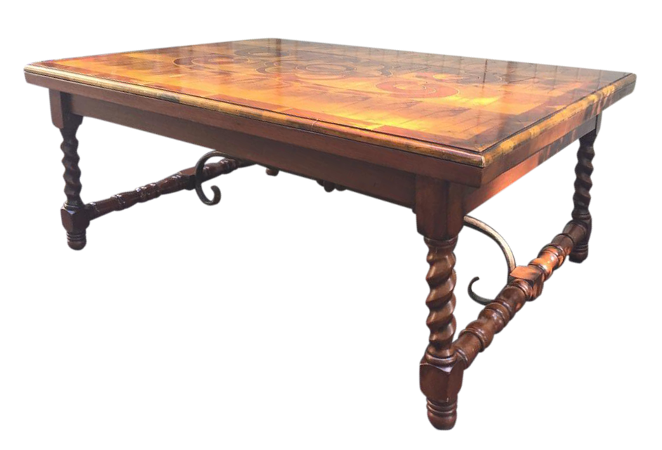 Vintage Burled Wood Coffee Table For Sale