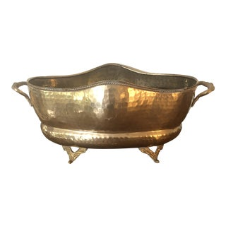 Vintage Hammered Brass Cache Pot For Sale