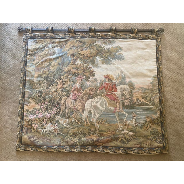 Green Tapestry of Renaissance Gentleman and Lady on Horseback For Sale - Image 8 of 8