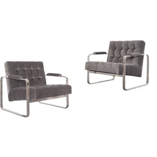 Vintage Nickel Biscuit Tufted Lounge Chairs by Milo Baughman For Sale