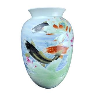 "Lg Chinese Porcelain Celadon Vase W/ Carps 17.25"" H For Sale"