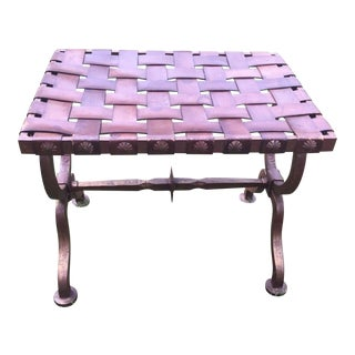 Cast Iron Woven Leather Strap Gothic Style Stool Bench For Sale