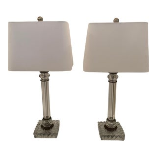 Baccarat Style Crystal Table Lamps - a Pair For Sale