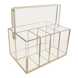 1970s Lucite Utensil Caddy For Sale