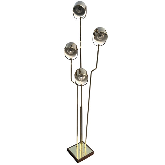 Reggiani Brass Floor Lamp With Four Heads For Sale