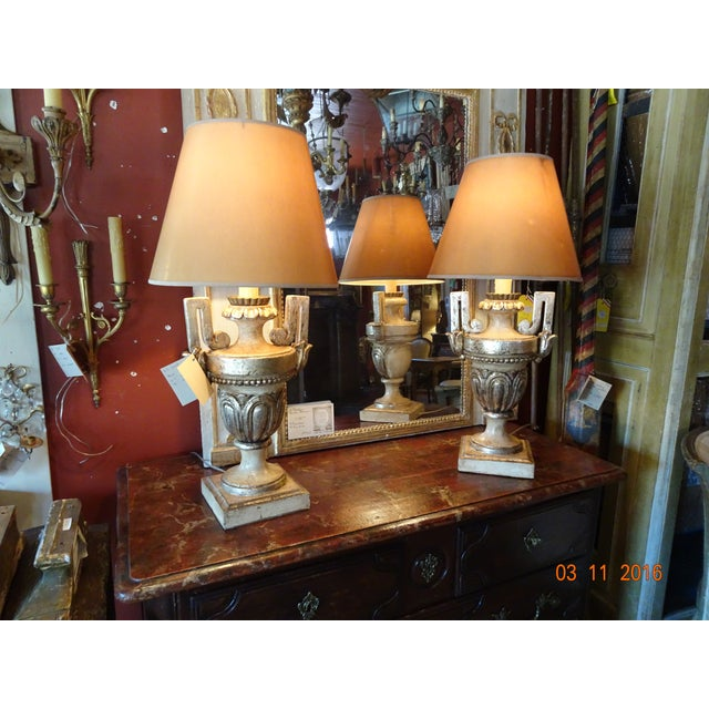 Vintage Silver Gilt Italian Lamps, Pair For Sale - Image 9 of 10