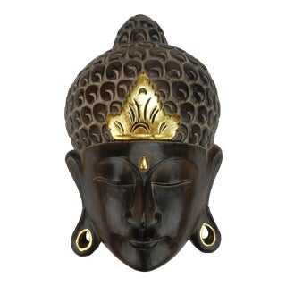 Southeast Asian Hardwood With Gilt Accent Buddha Mask For Sale