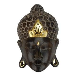 Southeast Asian Hardwood With Gilt Accent Buddha Mask