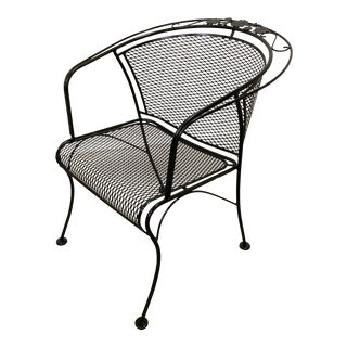 Mid-Century Modern Woodard Briarwood Outdoor Wrought Iron Dining Arm Chair For Sale
