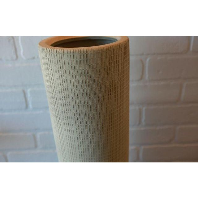 Contemporary Hand Textured Grid Patterned Tall Studio Pottery Ceramic Vessel For Sale - Image 3 of 5