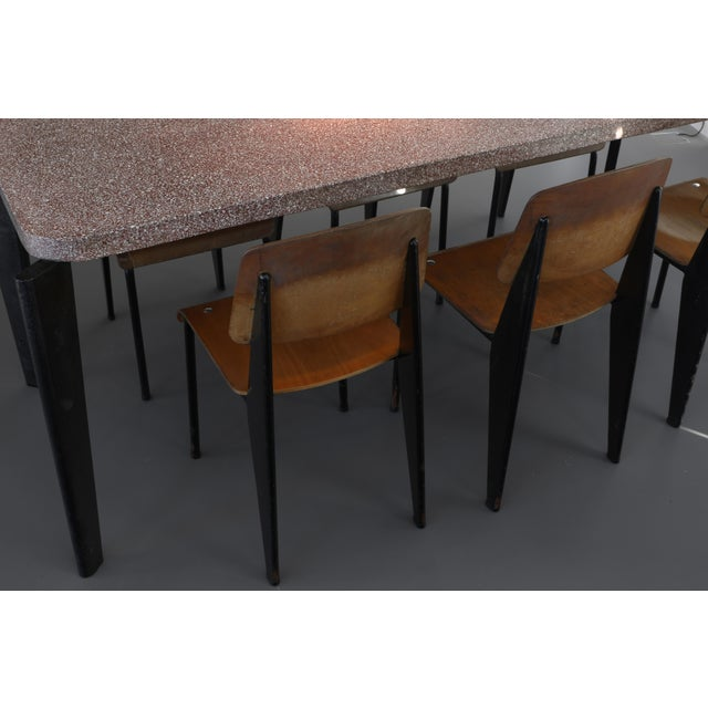 1950s Jean Prouve Dining Table and Chairs – Granito Table and 6 Metropole Chairs For Sale - Image 5 of 10