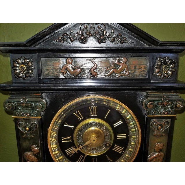Black 19th Century French Slate & Bronze Clock by Marti For Sale - Image 8 of 13