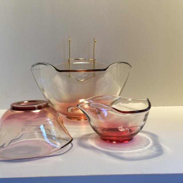 Mid-Century Modern Cranberry Red Chip & Dip with 2 Dip bowls For Sale - Image 9 of 11