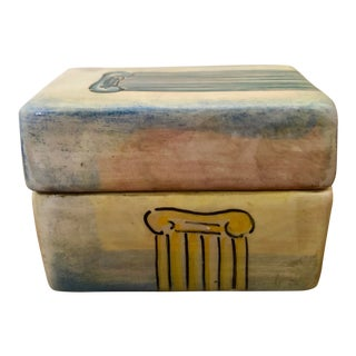 Vintage Roman Column Italian Pottery Trinket Box For Sale