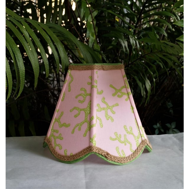 Metal Lampshade Pink Green Tropical Lilly Pulitzer Fabric For Sale - Image 7 of 11