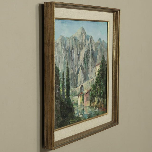 Mid 20th Century Mid- Century Original Painting on Canvas by Tilleux of Italian Alps For Sale - Image 5 of 12