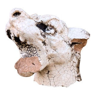 Late 19th Century Glazed Terracotta Barking Dog For Sale