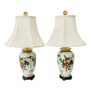 Chinese Export Ceramic Floral Table Lamps with Shades- a Pair For Sale