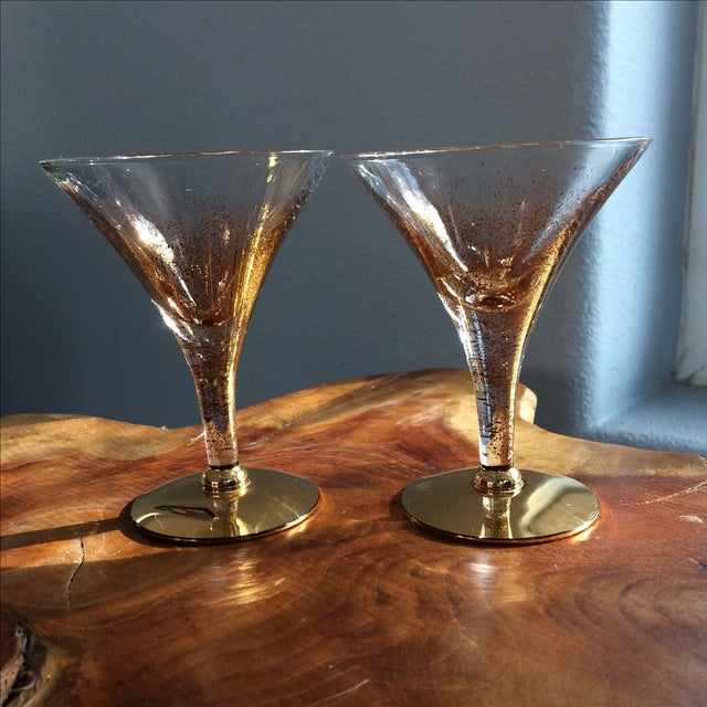 Mid-Century Modern Vintage Gold Speckled Glasses - A Pair For Sale - Image 3 of 9