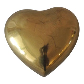 Vintage Gold Jewelry Box in the Shape of a Heart For Sale