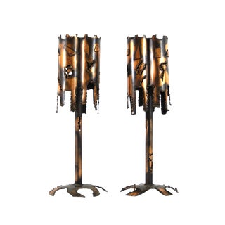 Mid-Century Modern Brutalist Torch-Cut Metal Table Lamps - A Pair